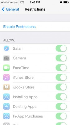 set up iphone restrictions